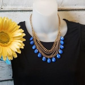 Jewelry - Multi-Strand Gold & Blue Necklace